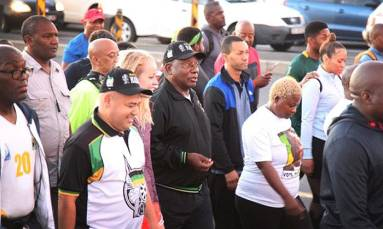 'The tummy must fall': Ramaphosa encourages healthy living on morning walk