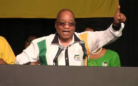 FILE. President Jacob Zuma leads delegates in song as he closes NGC. Picture: Kgothatso Mogale/EWN