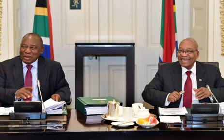 President Jacob Zuma met with Deputy President Cyril Ramaphosa (right), Ministers and Deputy Ministers at the scheduled routine meetings of Cabinet committees on 7 February 2018. Picture: GCIS.