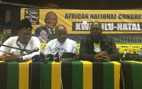 FILE: ANC KZN NEC member Nocawe Mafu, KZN PTT members Sihle Zikalala and Mike Mabuyakhulu at the party's conference on 9 June 2018. Picture: Ziyanda Ngcobo/EWN.