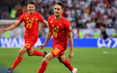 Belgium's Adnan Januzaj celebrates after a goal in a match against England during the 2018 Fifa World Cup
