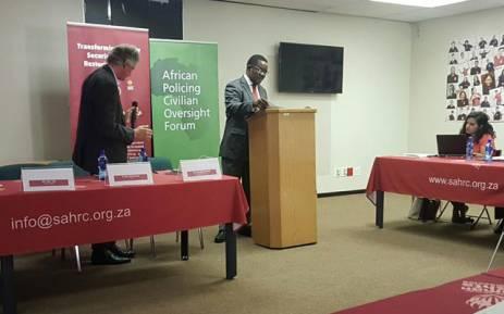 Chairperson of the SAHRC Bongani Majola welcoming all gathered. Picture: Thando Kubheka/EWN.
