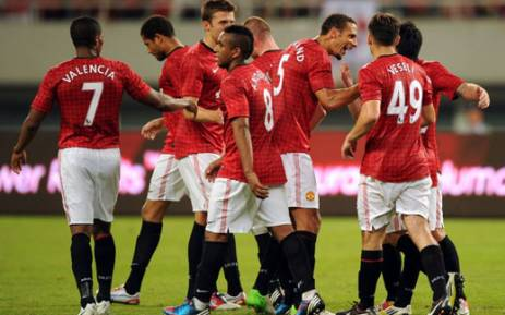 Manchester United team members. Picture: AFP.