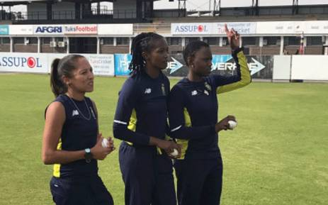 Members of the Proteas Women team gathered at the CSA Centre of Excellence ahead of their departure for the Women's Cricket World Cup in England. Picture: @OfficialCSA/Twitter