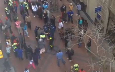 Screengrab of a video taken by an eyewitness of a blind man being assaulted and dragged by police in Cape Town. Picture: YouTube