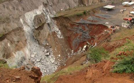A sink hole at the Lily Mine in Barberton. Picture: Vantage Goldfield