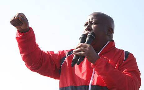 Expelled ANCYL leader Julius Malema addressed striking Lonmin mineworkers in Wonderkop, North West, on 18 August 2012. Picture: Taurai Maduna/EWN.
