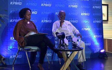 KPMG CEO Nhlamu Dlomu (left) and KPMG chairperson Wiseman Nkuhlu (right) speak at a media briefing on 15 April 2018. Picture: Katleho Sekhotho/EWN