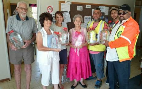 A team from Operation Hydrate distribute water to the Engo Aged Care Centre in Senekal, Free State in January 2016. Picture: Mohammed Seedat/Operation Hydrate.