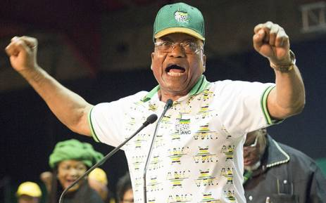 Former ANC president Jacob Zuma sings at the ANC's 54th national conference on 18 December 2017. Picture: Sethembiso Zulu/EWN.