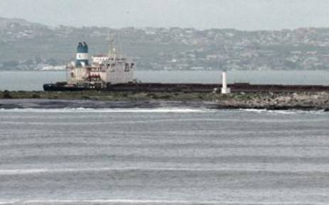 Ore carrier stuck on Marcus Island after engine failure. Picture: Paul Watson/iWitness