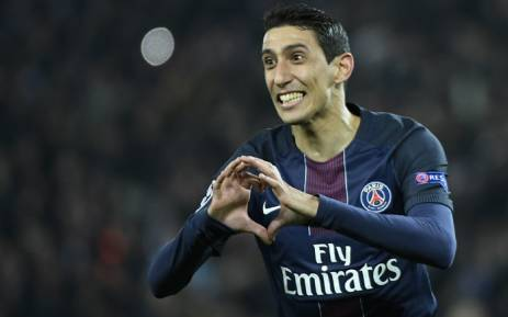 Paris Saint-Germain winger Angel di Maria celebrates a goal. Picture: AFP