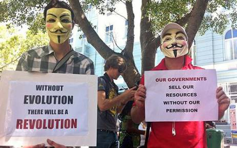 People take part in the so-called million mask march in Cape Town against corruption and social ills. Picture: Graeme Raubenheimer/EWN.