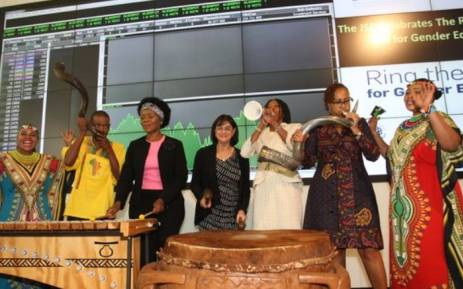 This morning, UN Women rang the bell for Gender Equality at the Johannesburg Stock Exchange. Picture: Twitter