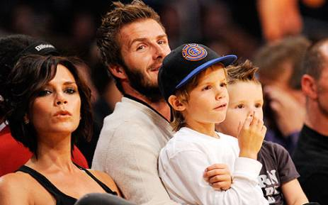 David Beckham and his family. Picture: AFP