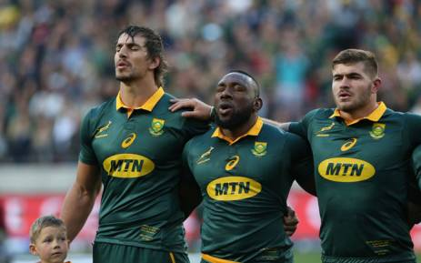 FILE: The Springboks sing the national anthem before the start of a Test match. Picture: @Springboks/Twitter
