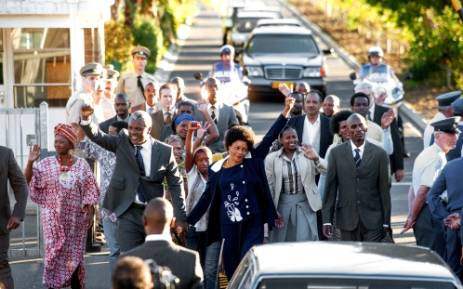 A scene from the movie 'Mandela: Long Walk to Freedom' depicting the release of former President Nelson Mandela from prison. Picture: Videovision Entertainment.