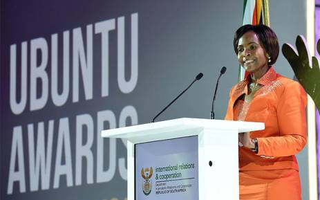 Minister of International Relations Maite Nkoana-Mashabane at the 2017 Ubuntu Awards. Picture: @DIRCO_ZA/Twitter
