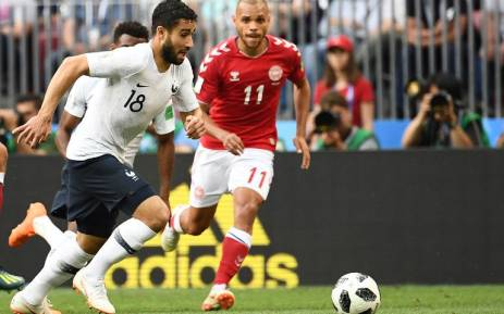 France's Nabil Fekir dribbles with the ball during the World Cup game against Denmark on 26 June 2018. Picture: @equipedefrance/Twitter