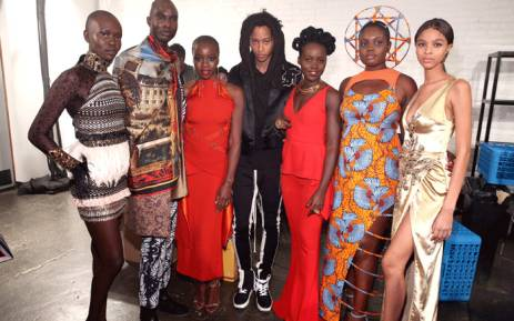 Actors Danai Gurira and Lupita Nyong'o pose backstage with models during the Marvel Studios Black Panther Welcome to Wakanda New York Fashion Week Showcase at Industria Studios on 12 February 2018. Picture: AFP