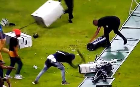 A screengrab of Kaizer Chiefs fans destroyin camera equipment following their side's defeat to Free State Stars in a Nedbank Cup match at the Moses Mabhida Stadium on 21 April 2018.
