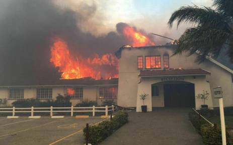 Firefighters are reportedly trying to extinguish the fire that's also engulfed the library and music blocks at the Woodridge College and Preparatory School near Port Elizabeth. Picture: Nelson Mandela Bay Municipality.