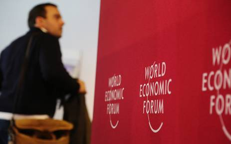 A man walks through the registration hall of the 2016 World Economic Forum in Davos, Switzerland. Picture: Reinart Toerien/EWN.