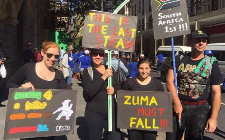 Anti-Zuma protesters in Cape Town on 7 April 2017. Picture: Imran Goga/EWN