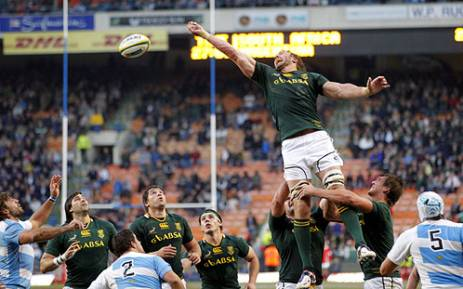 Springbok lock Andries Bekker competes at the lineout during the first Rugby Championship match against Argentina in Cape Town on 18 August 2012. Picture: Aletta Gardner/EWN