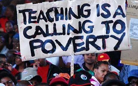 Sadtu members during a strike. Picture: Taurai Maduna/EWN.