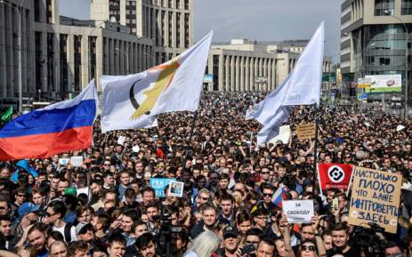 People attend an opposition rally in central Moscow on 30 April, 2018, to demand internet freedom in Russia. Picture: AFP