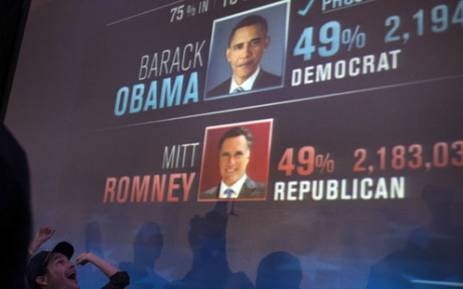 Barack Obama wins re-election as American president on 7 November 2012. Picture: AFP