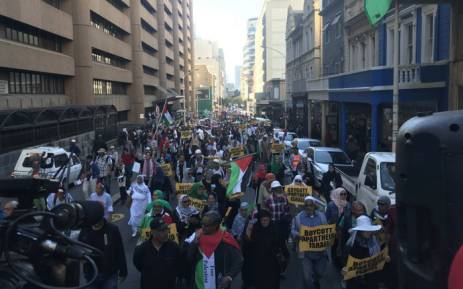 Pro-Palestine demonstrators march in Cape Town on 15 May 2018 against the Gaza attacks. Picture: Shamiela Fisher/EWN.