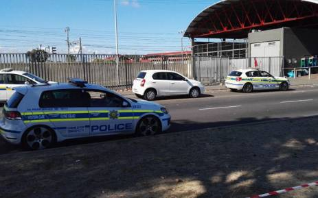 FILE: Police on the scene of an armed robbery at a shopping centre in Nyanga. Picture: Shamiela Fisher/EWN.