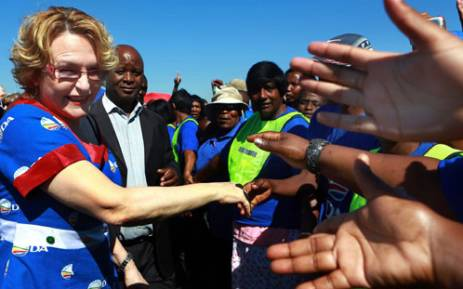 Democratic Alliance ( DA ) leader Helen Zillle is greeted by supporters at Phoenix township,south of Durban during Freedom Day Celebrations on Saturday, 27 April 2013. Picture: Sapa