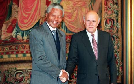 Nelson Mandela and South Africa's last apartheid President, FW de Klerk, shake hands on 10 December 1993 in Oslo after being awarded the Nobel Peace Prizes. Picture: AFP.