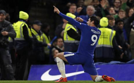 FILE: Chelsea striker Alvaro Morata celebrates scoring the opening goal during the English Premier League football match between Chelsea and Manchester United at Stamford Bridge in London on 5 November, 2017. Picture: AFP
