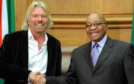 Sir Richard Branson and President Jacob Zuma. Picture: GCIS.