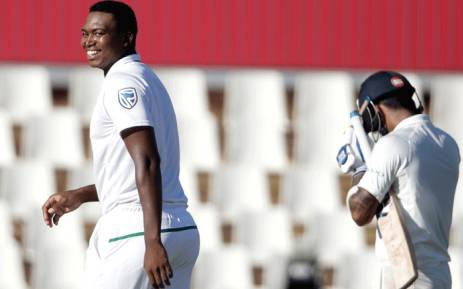 South African bowler Lungi Ngidi (L) celebrates the dismissal of Indian batsman Lokesh Rahul (R) during the fourth day of the second Test cricket match between South Africa and India at Supersport cricket ground on 16 January 2018 in Centurion. Picture: AFP.