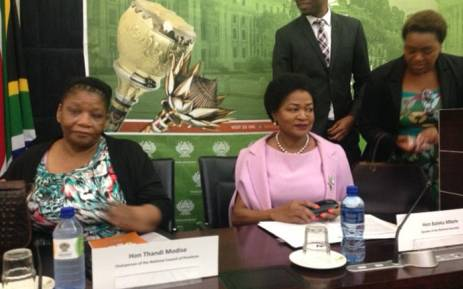 NCOP chairperson Thandi Modise (left) and National Assembly Speaker Baleka Mbete (right) at a media briefing on the 2018 State of the Nation Address. Picture: Gaye Davis/EWN