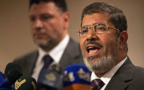 Muslim Brotherhood Egyptian presidential candidate Mohammed Morsi gives a press conference in Cairo on May 26, 2012. Picture: AFP