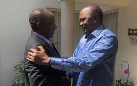 ANC President Cyril Ramaphosa welcomes Kenyan President Uhuru Kenyatta. Picture: @MYANC/Twitter.