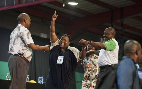 FILE: Cyril Ramaphosa is ushered onto the stage after he was announced as the new ANC president on 18 December 2017. Picture: Ihsaan Haffejee/EWN.