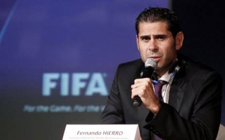 In this file photo taken on 15 October 2010 former Spanish footballer Fernando Hierro speaks during a press conference at the end of a three-day Fifa/Caf symposium about the 2010 World Cup, in Cairo. Fernando Hierro will coach the Spanish team football team during Russia 2018 World Cup football tournament the Spanish Football Federation announced on 13 June 2018. Picture: AFP