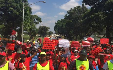 FILE: Numsa affiliated workers protest against the RAF. Picture: Twitter /@Numsa_Media.