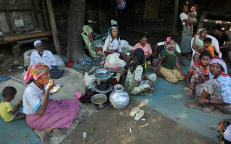 A displaced Rohingya Muslim family at the Bawdupha Internally Displaced Persons camp located on the outskirts of Sittwe, capital of Myanmar's western Rakhine state. Picture: AFP