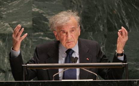 US author and Nobel Peace Prize recipient Elie Wiesel addressing the United Nations General Assembly in New York. Picture: AFP.