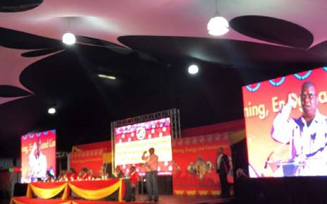 The outgoing president of the National Union of Mineworkers, Piet Matosa, addressing delegates during union's national congress in Boksburg. Picture: Qaanitah Hunter/EWN.