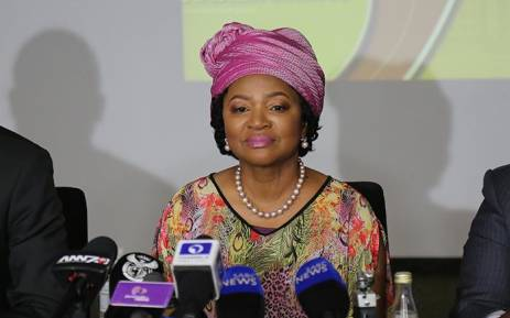 National Assembly Speaker Baleka Mbete addresses the media at OR Tambo International Airport on her return home from Bangladesh.  Picture: Christa Eybers/EWN.