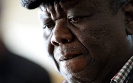 FILE: Zimbabwean presidential hopeful Morgan Tsvangirai speaks in Harare on August 1, 2013. Picture: AFP.